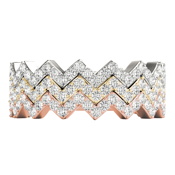 Herringbone Diamond Stackable Rings Set