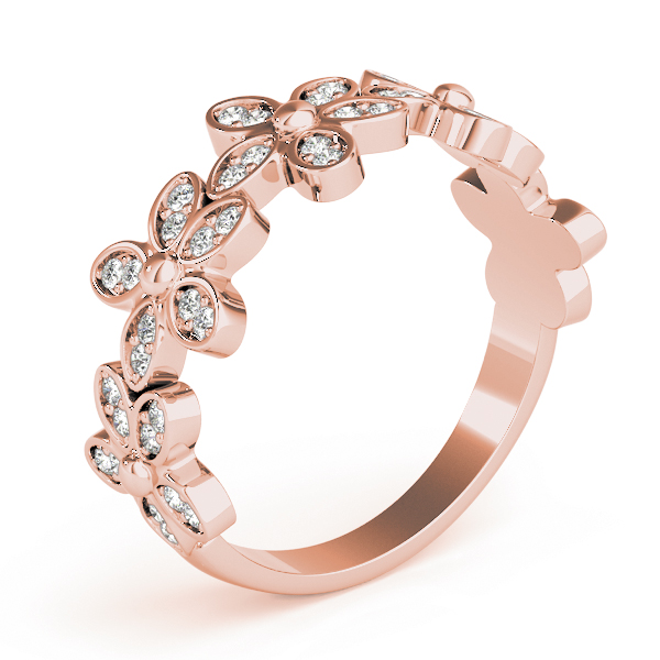 Diamond Flower Rose Gold Stackable Ring