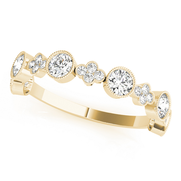 Floral Bezel Diamond Stackable Rings Set