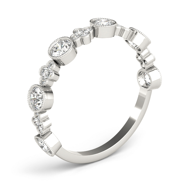 Floral Bezel Diamond Stackable Ring