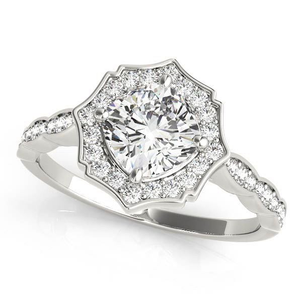 Cushion Scalloped Diamond Halo Engagement Ring