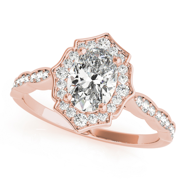 Scalloped Oval Diamond Halo Bridal Set in Rose Gold