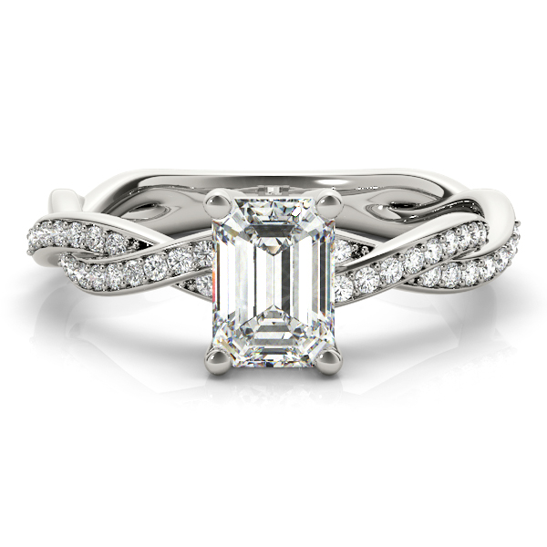 Emerald Cut Petite Eternity Intertwined Diamond Engagement Ring