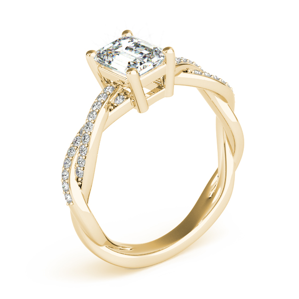 Emerald Cut Petite Eternity Intertwined Diamond Engagement Ring Yellow Gold