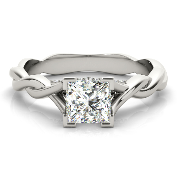 Princess Solitaire Intertwined Engagement Ring with Diamond Accents
