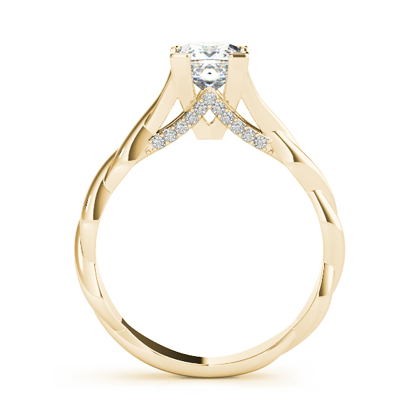 Princess Solitaire Intertwined Engagement Ring with Diamond Accents Yellow Gold