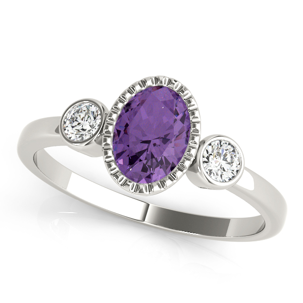 Oval Purple Amethyst Bezel 3 Stone Ring