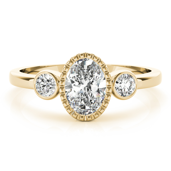 Three Stone Oval Bezel Ring Yellow Gold