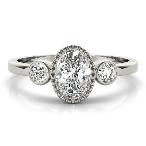 Three Stone Oval Bezel Engagement Ring
