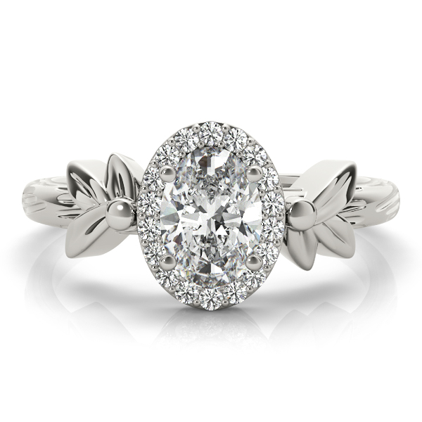 Oval Diamond Floral Halo Ring