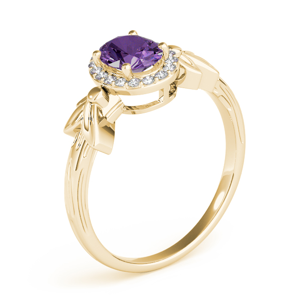 Oval Amethyst Floral Halo Ring Yellow Gold