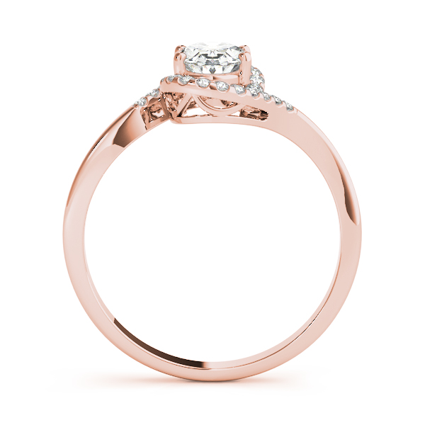 Oval Swirl Halo Filigree Ring Rose Gold