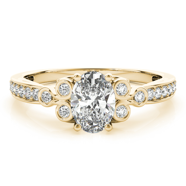 Oval Trinity Diamond Ring Yellow Gold