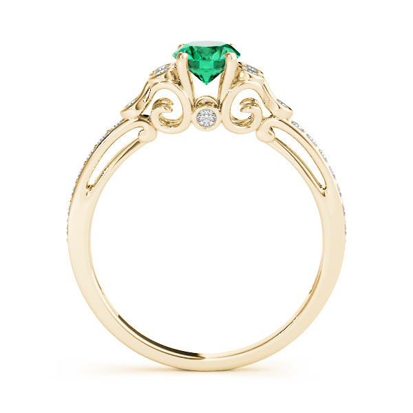 Oval Green Emerald Trinity Ring Yellow Gold