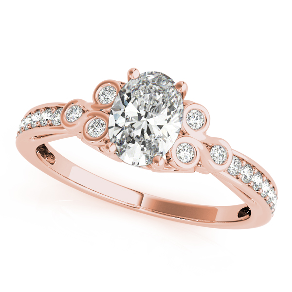 Oval Trinity Diamond Ring Rose Gold