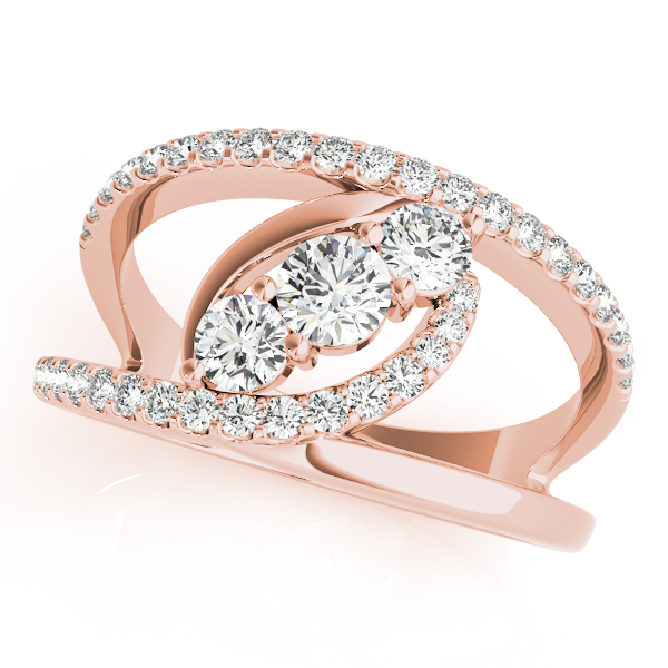 3 Stone Swirl Split Band Diamond Ring Rose Gold