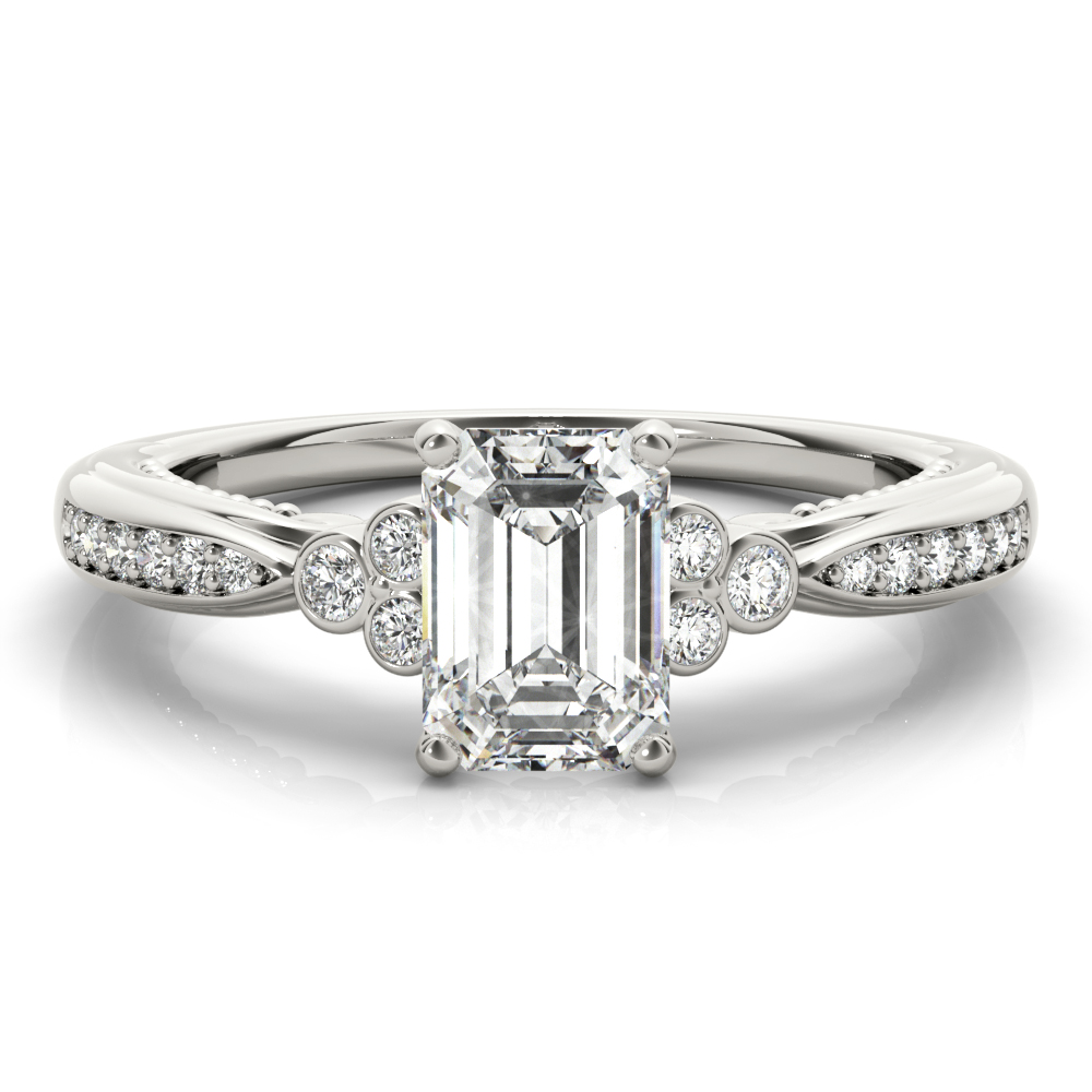 Emerald Cut Filigree Cluster Trinity Engagement Ring