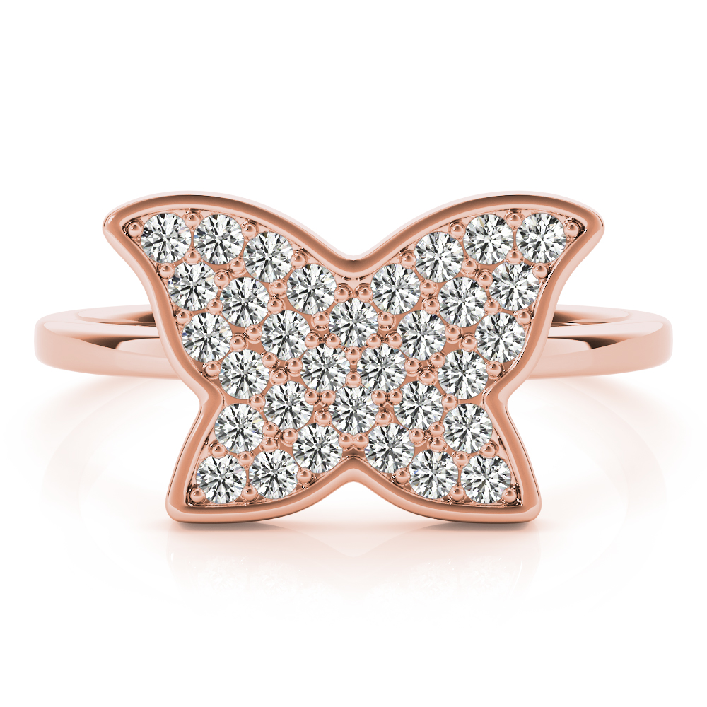 Diamond Cluster Butterfly Ring Rose Gold