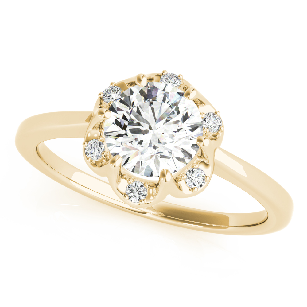 Floral Crown Halo Engagement Ring Yellow Gold