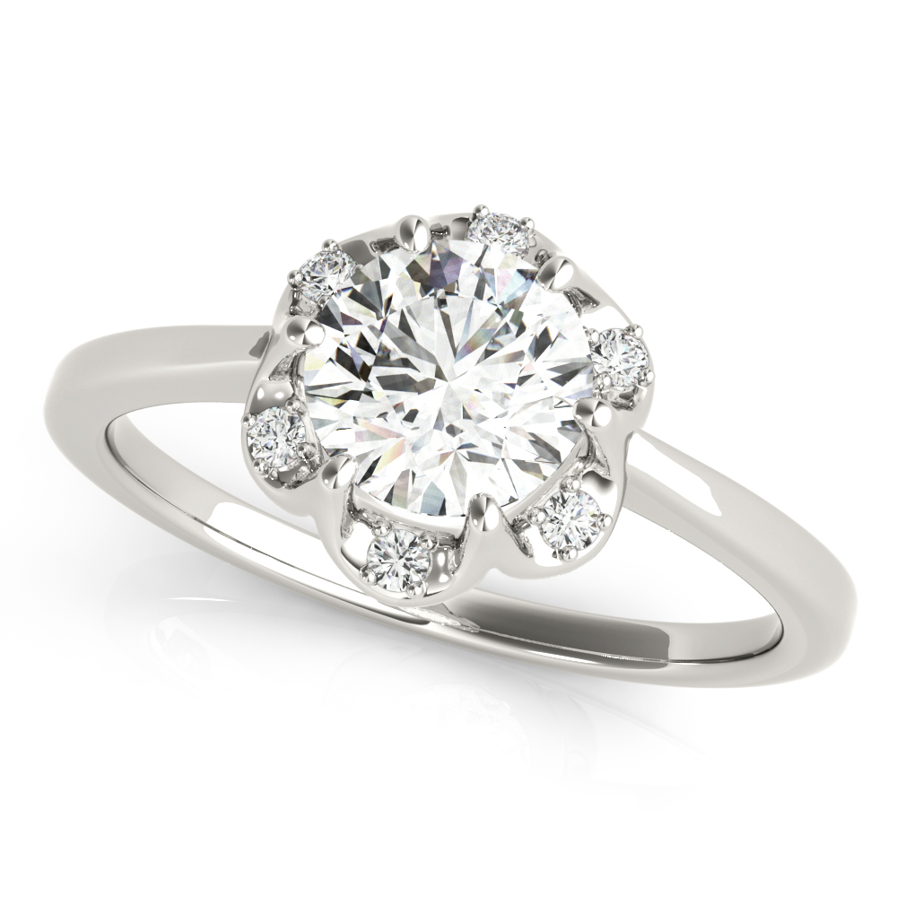 Floral Crown Halo Diamond Engagement Ring
