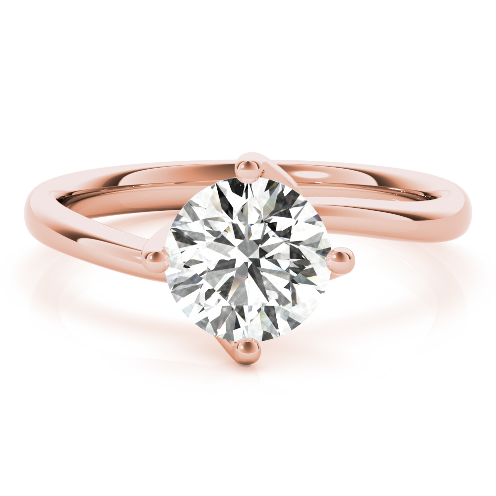 Swirl Solitaire Engagement Ring Rose Gold