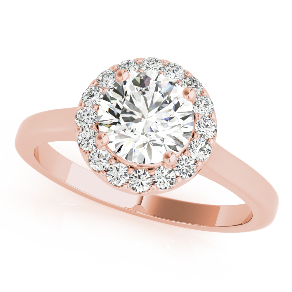 Cathedral Diamond Halo Engagement Ring Rose Gold