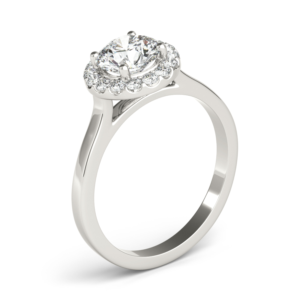 Cathedral Diamond Halo Engagement Ring