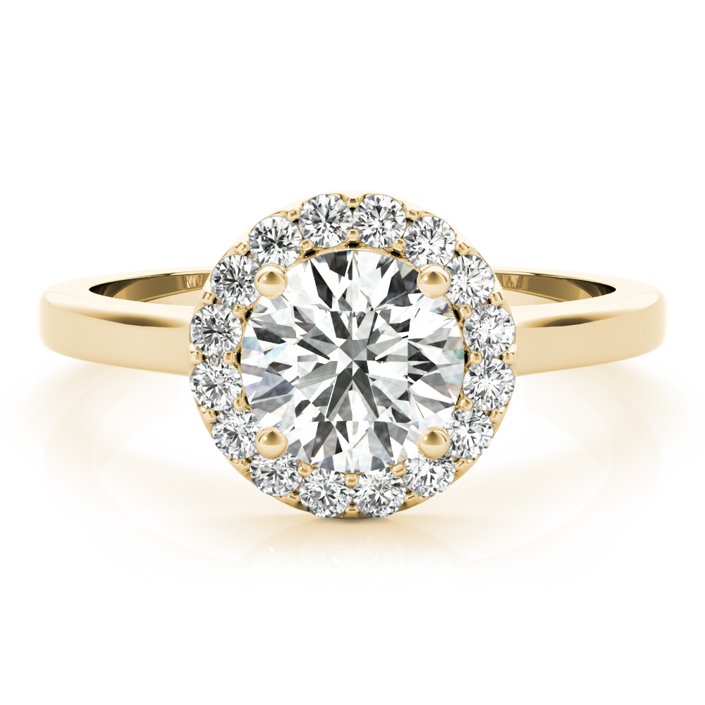 Cathedral Diamond Halo Engagement Ring Yellow Gold