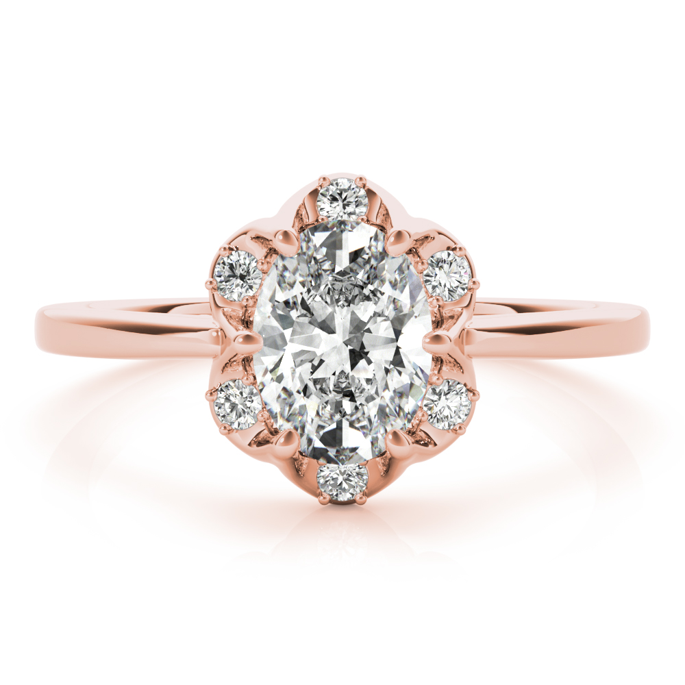 Floral Crown Oval Engagement Ring Rose Gold