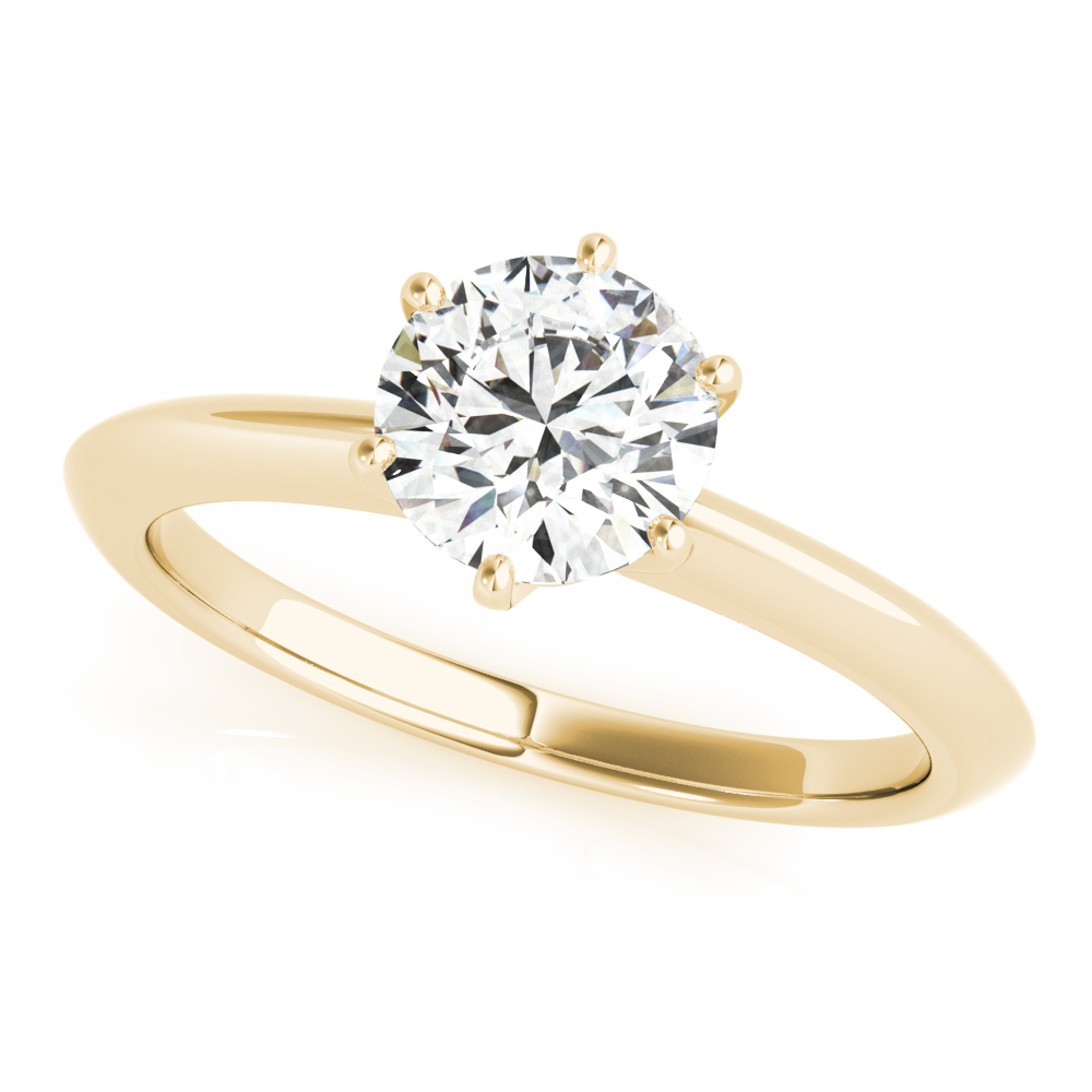 Solitaire Knife Edge Engagement Ring Yellow Gold