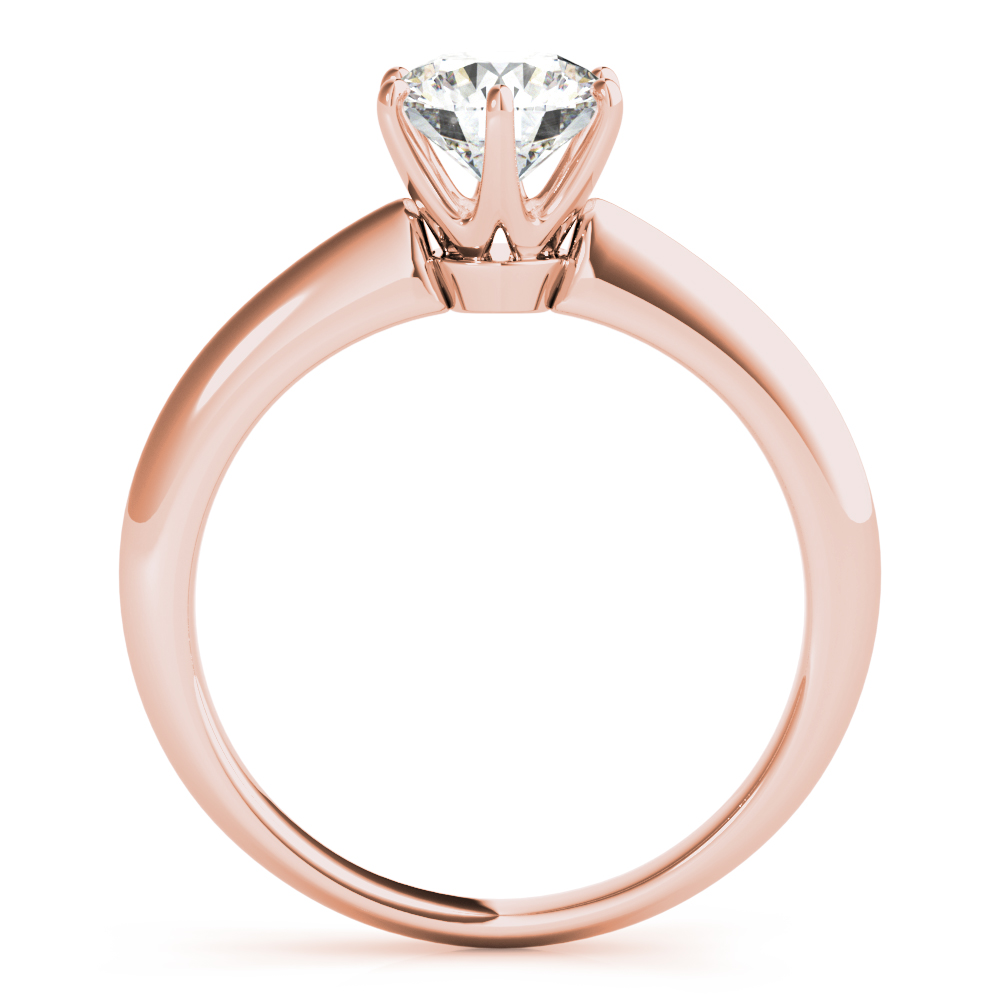 Solitaire Knife Edge Engagement Ring Rose Gold