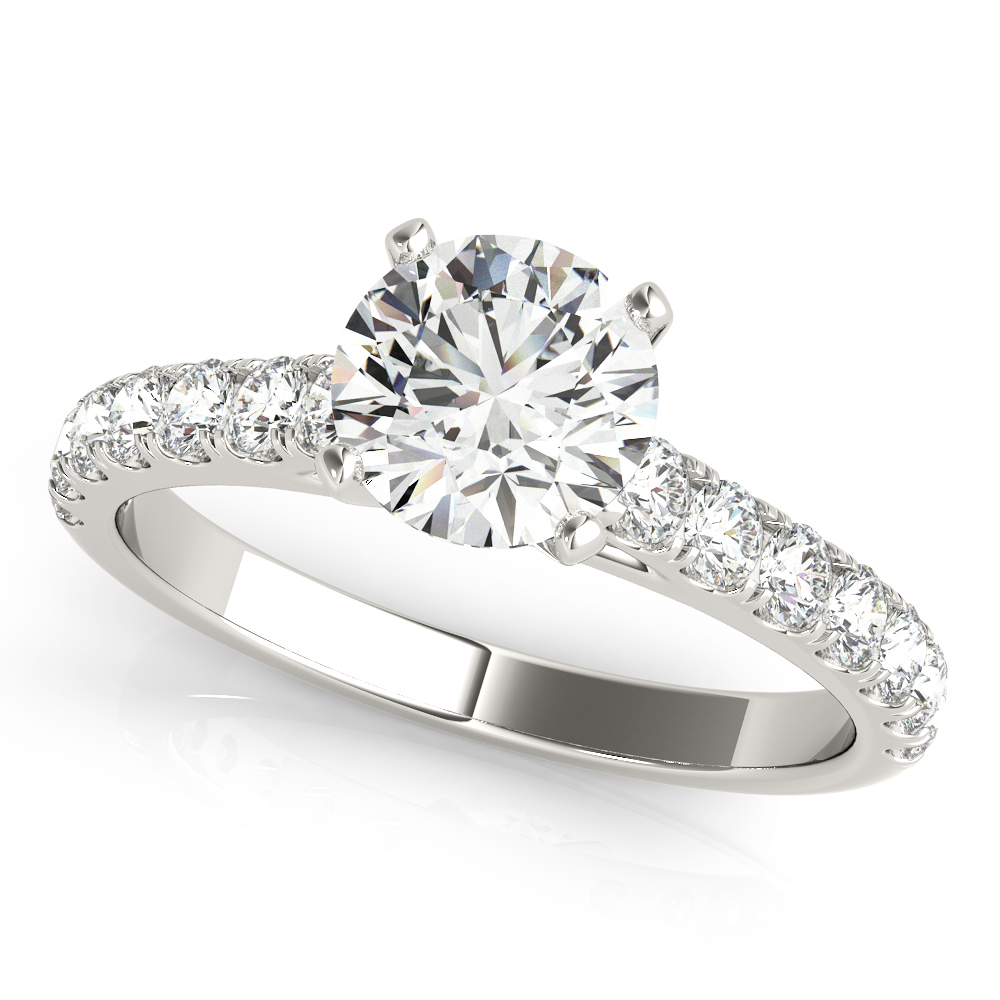 Cathedral U Prong Diamond Engagement Ring
