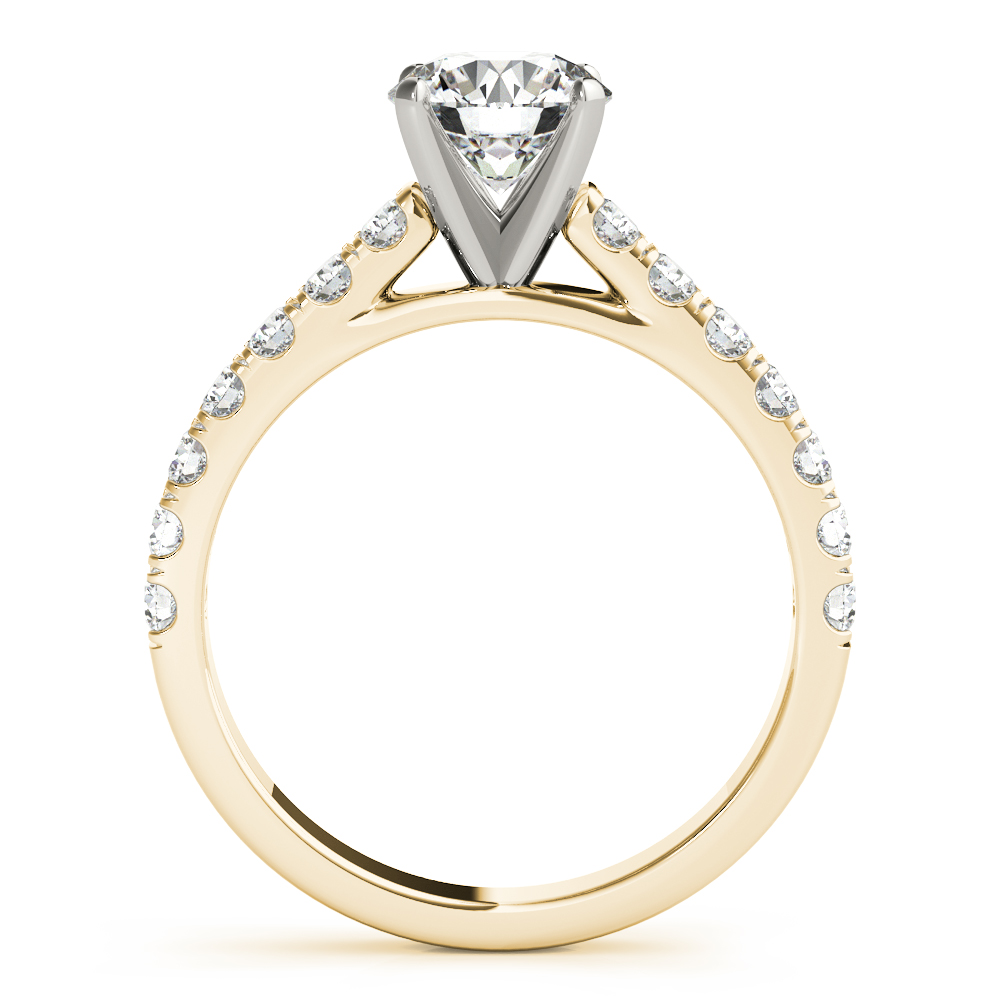 Cathedral U Prong Diamond Engagement Ring Yellow Gold