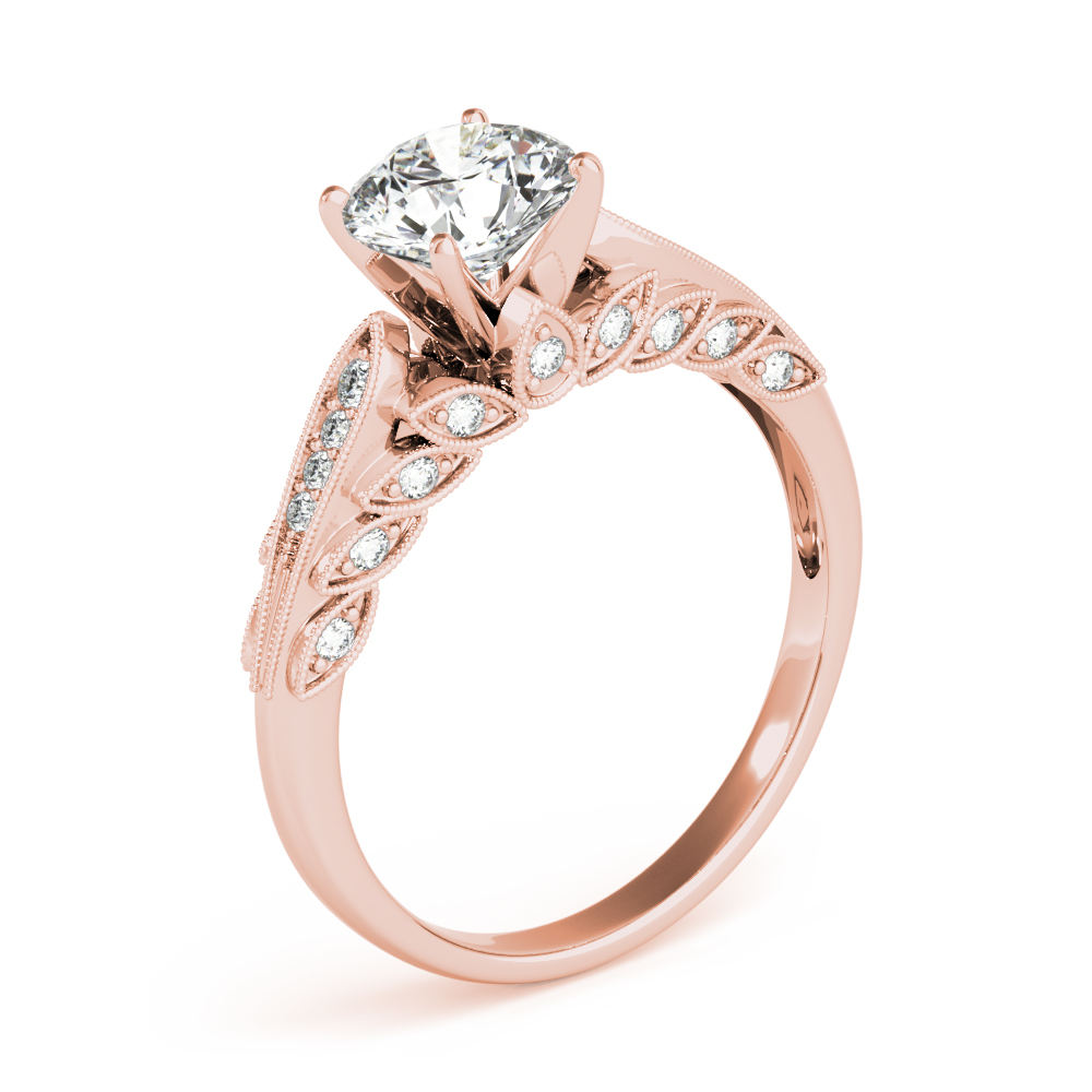 Graduated Floral Diamond Engagement Ring Rose Gold