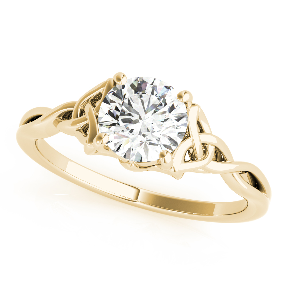 Solitaire Celtic Engagement Ring Yellow Gold