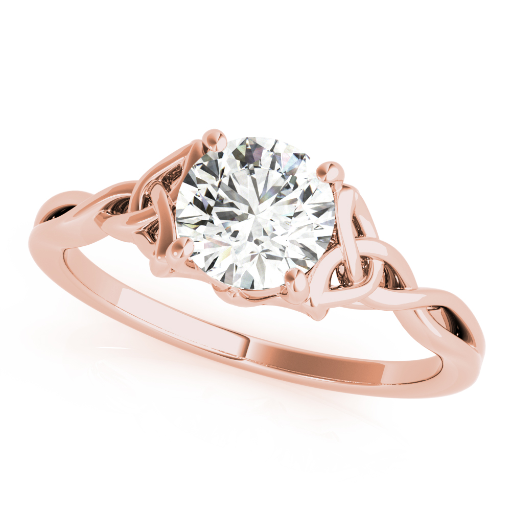 Solitaire Celtic Engagement Ring Rose Gold