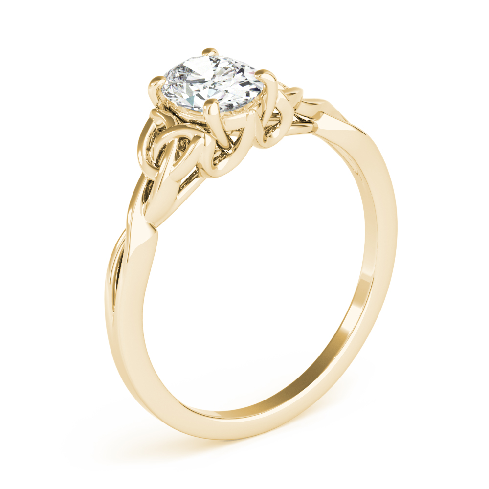 Oval Solitaire Celtic Engagement Ring Yellow Gold