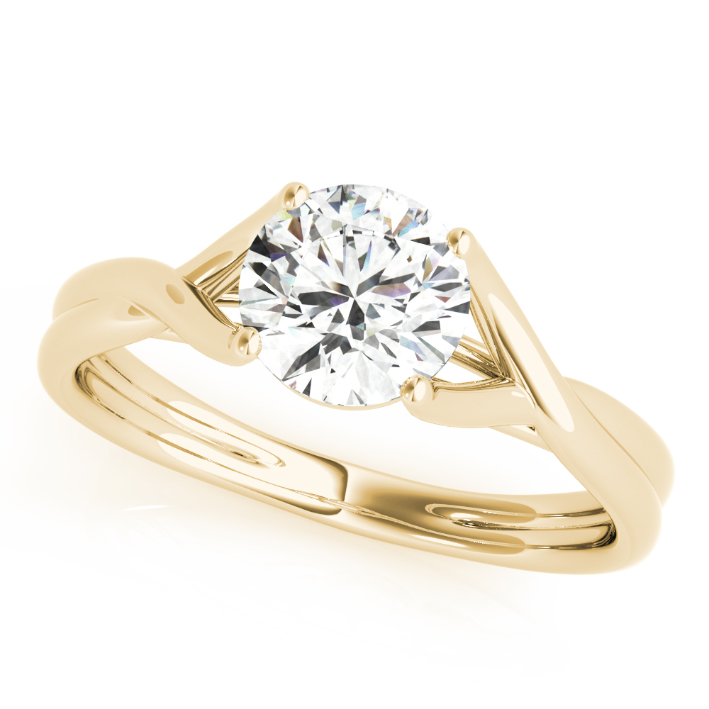 Wish Bone Solitaire Engagement Ring Yellow Gold