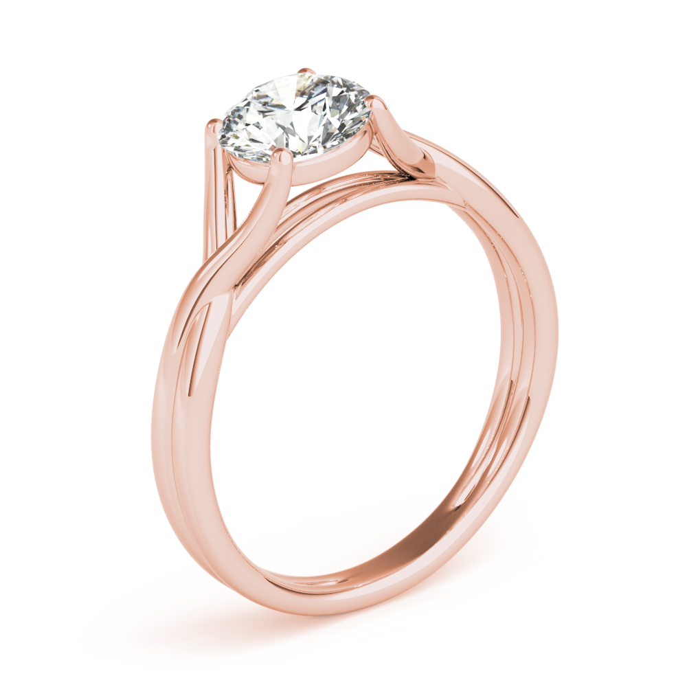 Wish Bone Solitaire Engagement Ring Rose Gold