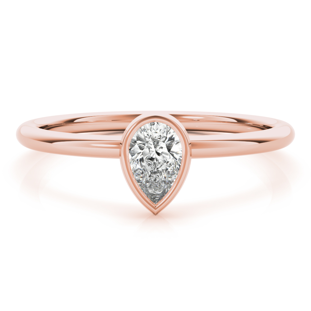 Petite Pear Diamond Stackable Ring Rose Gold