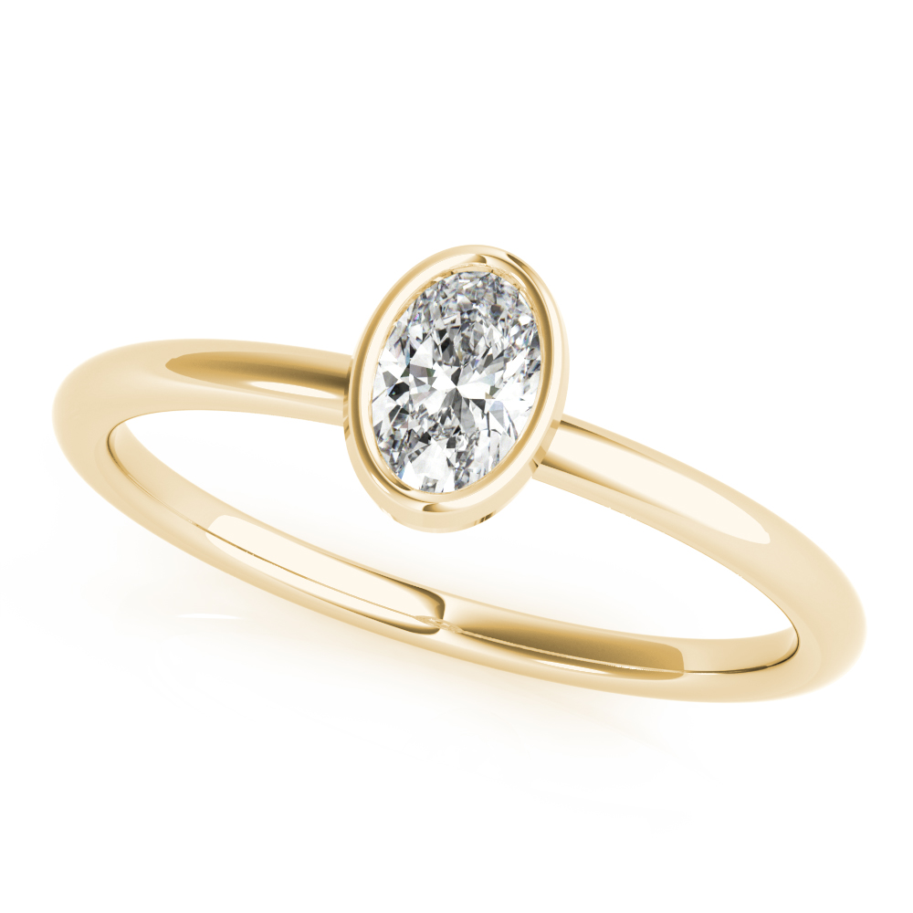 Bezel Oval Diamond Stackable Ring Yellow Gold
