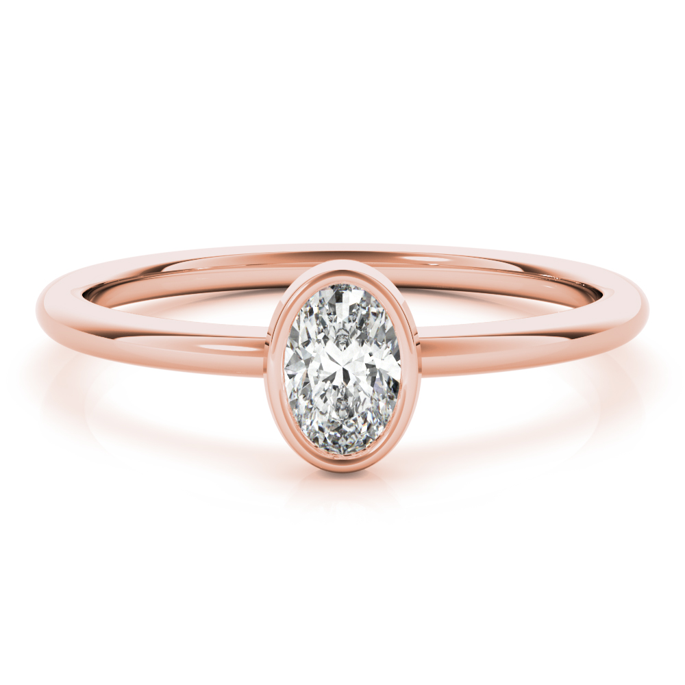Petite Oval Diamond Stackable Ring Rose Gold