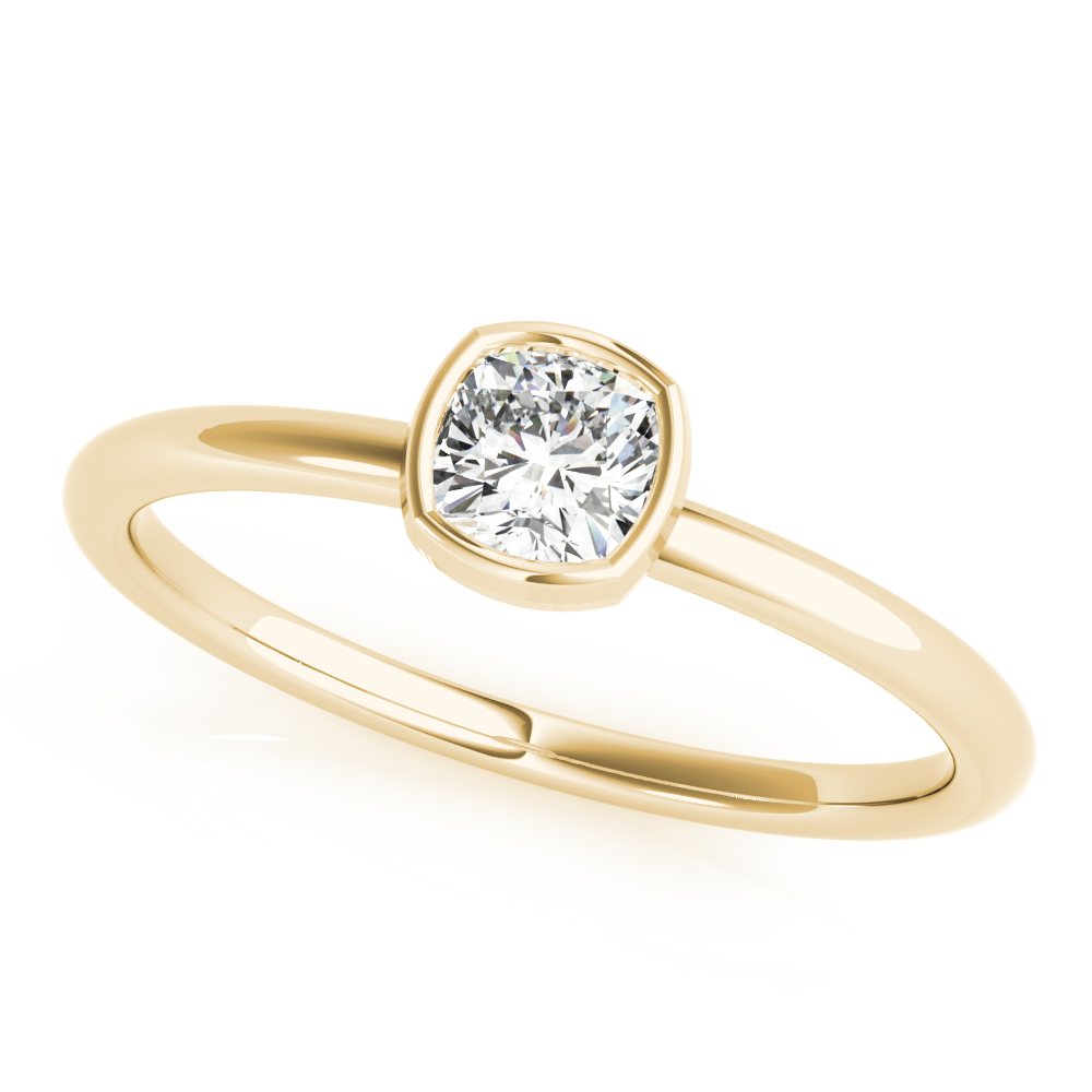 Bezel Cushion Diamond Stackable Ring Yellow Gold