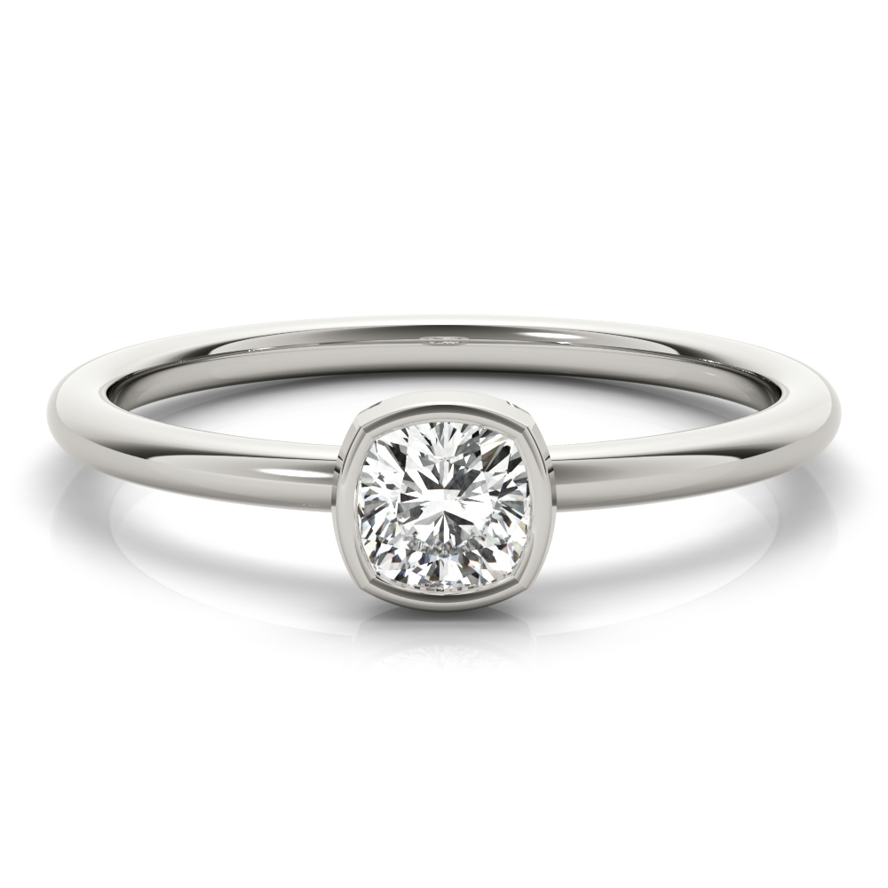 Petite Bezel Cushion Diamond Stackable Ring