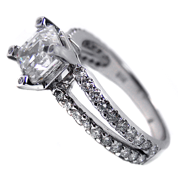 Asscher Square Cut Diamond Split Band Engagement Ring Setting 0.64 tcw. In 14K white gold