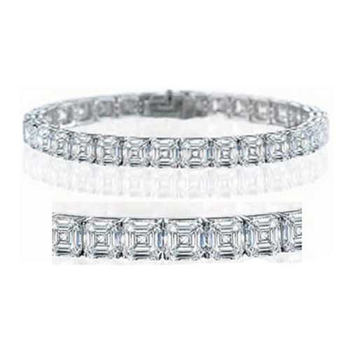 13 Carat Asscher Cut Diamond Tennis Bracelet G-H VS