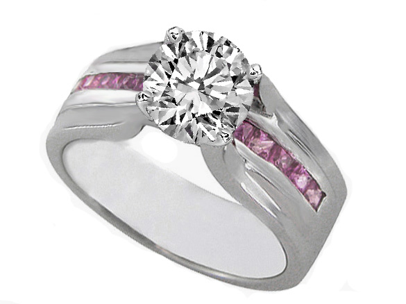 Diamond Bridge Engagement Ring with Pink Sapphire