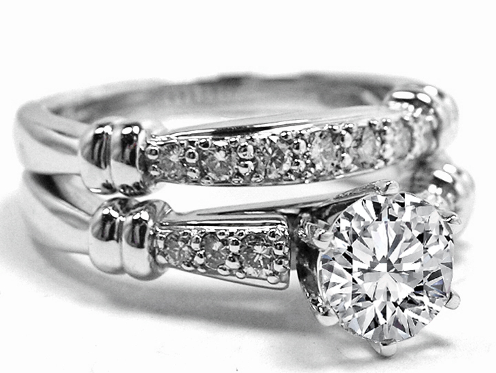 Six Stone Diamond Engagement Ring & Wedding Band 0.27 tcw in 14 Karat White Gold