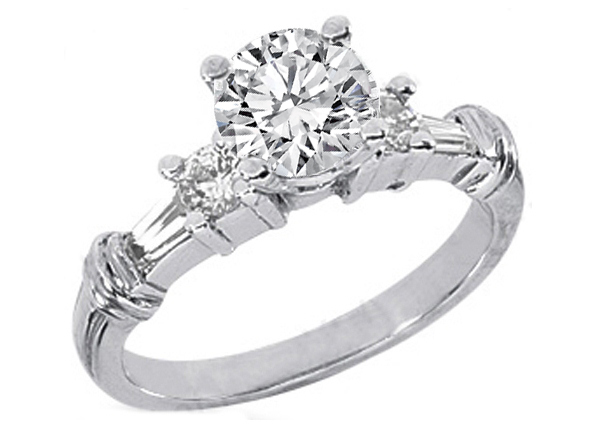 Round and Tapered Baguette Diamond Engagement Ring 0.4 tcw. In 14K White Gold