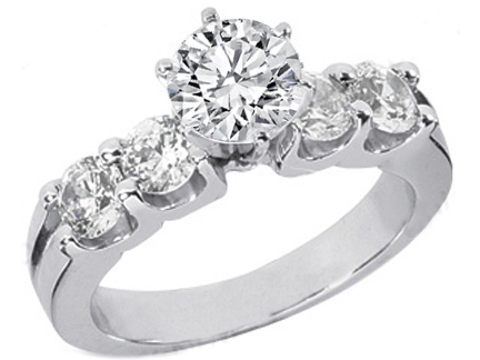 Four Stone Diamond Engagement Ring Diamonds 0.4 tcw. In 14K White Gold